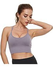 Maylisacc Bezszwowy biustonosz sportowy dla kobiet, wygodny damski w krzyżowym plecach pasek odsłaniający top biustonosze z wyjmowanymi wkładkami do biegania jogi ćwiczeń fitness