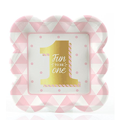 1st Birthday Girl Dessert Plate (Fun to be One - 1st Birthday Girl with Gold Foil - Dessert Plates (8 count))