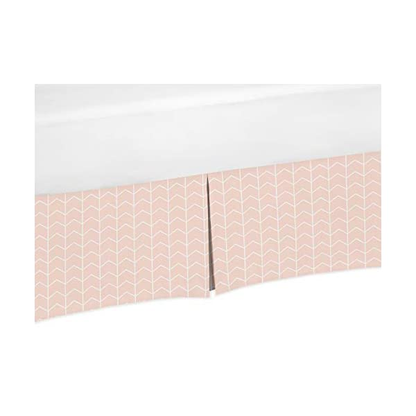 Sweet Jojo Designs Blush Pink and White Chevron Arrow Girl Pleated Baby Crib Bed Skirt Dust Ruffle for Watercolor Elephant Safari Collection