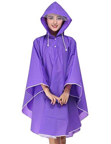Veste Unicolore Perméable Femme Grande Outdoor Pluie Capuchon Manteau L'air Marche Imperméable Mode Taille À De Large Cape Élégant Violet Fashion Clothing Poncho AqFwUvv