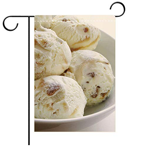 BEICICI Garden Flag Double Sided Decorative Flags Toffee ice Cream Scoops in Bowl Decorative Deck, Patio, Porch, Balcony Backyard, Garden or Lawn