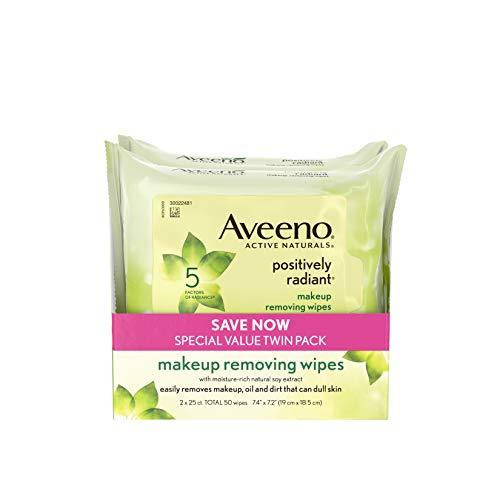 Evens Skin And Tone Texture (Aveeno Positively Radiant Oil-Free Makeup Removing Wipes to Help Even Skin Tone and Texture with Moisture-Rich Soy Extract, 25 ct., Twin pack)