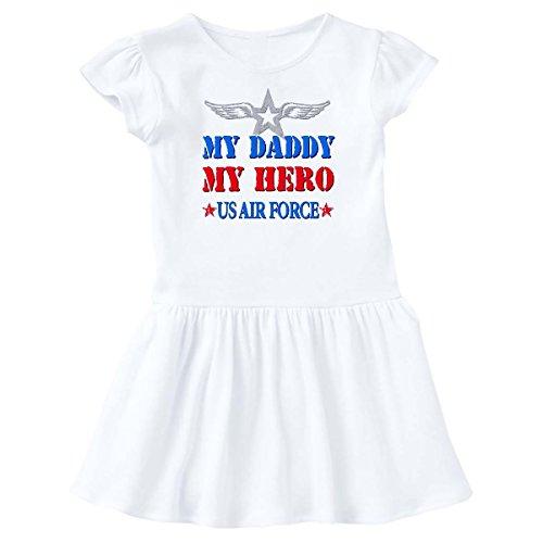 - inktastic - Daddy Hero USAF Toddler Dress 4T White 4436