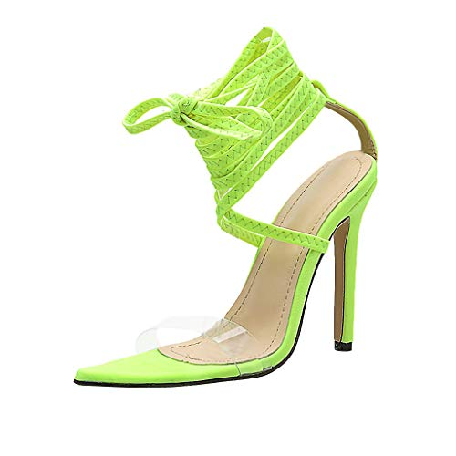 MmNote Women Shoes, Womens Clear Durable Stilettos Chunky Heel Ankle-Strap Adjustable Sandals Shoes Green