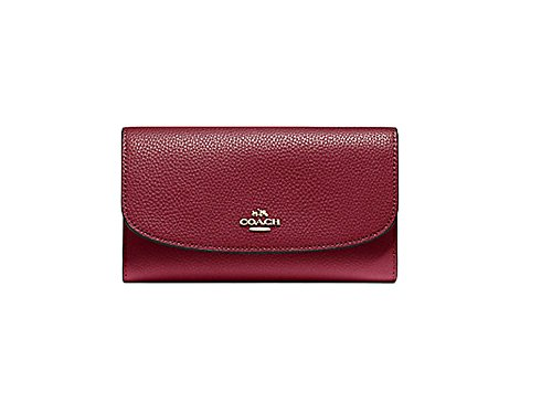 Coach Pebbled Leather Checkbook Wallet Clutch F16613 Crimson by Coach