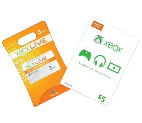 Xbox Live 3-Month Gold + $5 Xbox Gift Card - Xbox 360 Digital Code