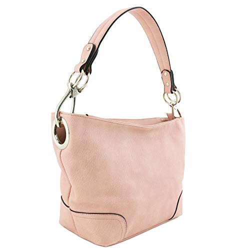 Hobo Shoulder Bag with Snap Hook Hardware Small (Pink)