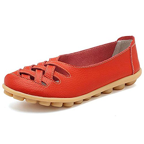 Orangetime Women's Comfort Walking Flats Leather Work Shoes-Soft Driving Shoes Casual Leather Slip On Loafers Shoes Women Red-xwd5577