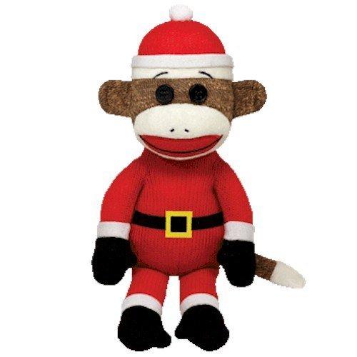 Ty Beanie Babies Sock Monkey - Santa