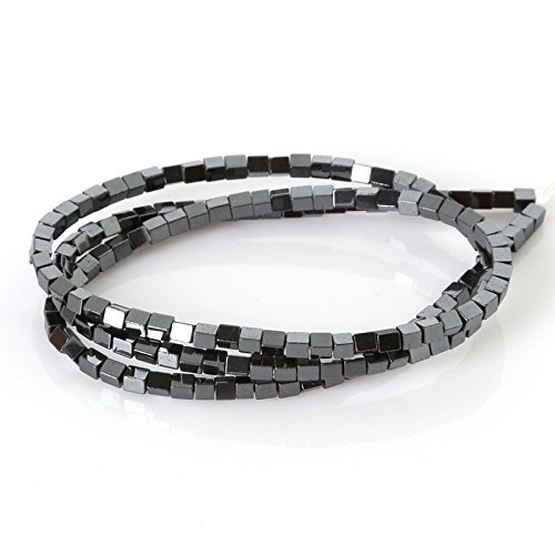 - jennysun2010 Natural Hematite Gemstone Square Cube 2mm Metallic Jet Black Hematite Beads 15.5'' Healing 1 Strand for Bracelet Necklace Earrings Jewelry Making Crafts Design