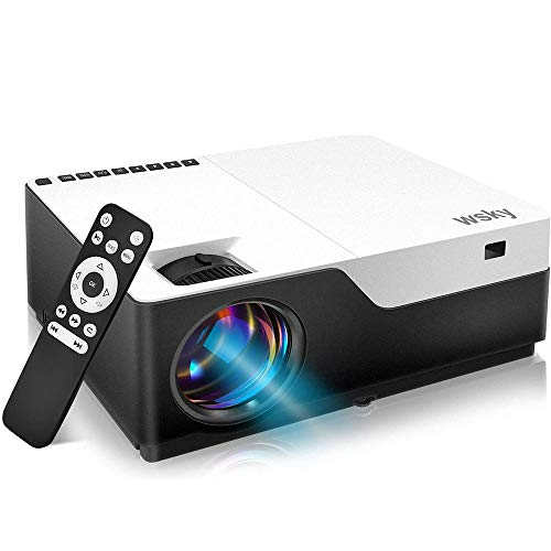 Wsky Native 1080P Projector Home Theater, LED LCD 5000 Lux Video Projector with Dual Speakers, Compatible DVD, Phone…