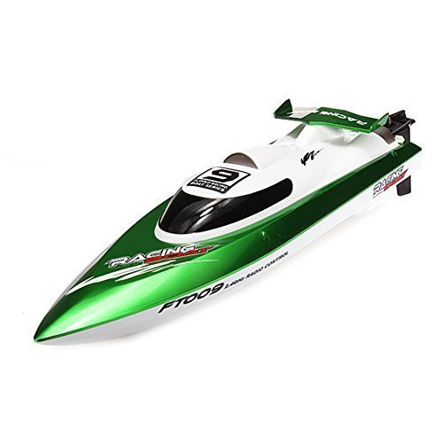FeiLun FT009 2.4G 4CH High Speed Racing Flipped RC Boat Electric Remote Control Speedboat Water Cooling Motor System 35KMH – Green