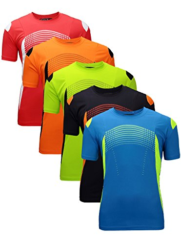 ZITY Men's Training T Shirts,Running T Shirt Orange Black Blue Black Red Navy L