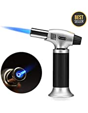 Blow Torch, Lypumso Refillable Culinary Butane Torch Kitchen Lighter with Safety Lock & Adjustable Flame for Creme Brulee, Meat, Seafood, Pastries, Desserts, Baking, Outdoor - Butane not included