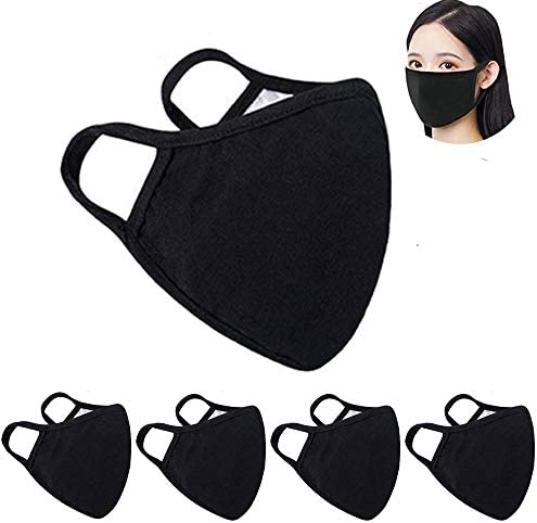 5 Pack Fashion Protective, Unisex Black Dust Cotton, Reusable Cotton Fabric【US in Stock】