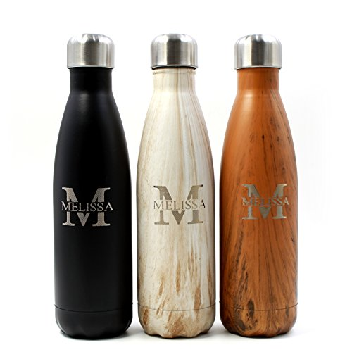 FunnyGuys Customized Engraved Stainless Steel Water Bottle Personalized Birthday Wedding Graduation Gift, 17 oz -