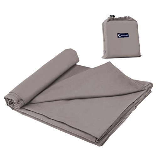 Cotton Sleeping Bag Liner Travel and Camping Sheet Lightweight Warm Roomy Compact Sleep Bag And Sack for Hotel, Youth Hostels, Picnic,Hiking,Climbing 82.7 X 45 Inch,Khaki Grey