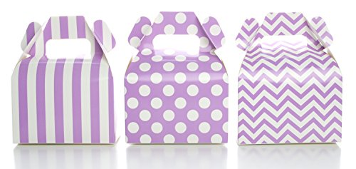 Candy Gable (Party Favor Boxes, Purple Gift & Candy Boxes, 36 Pack - Stripe, Polka Dot, Chevron Zig-Zag Mini Purple Gable Boxes, Birthday Favors Party Treat Boxes)