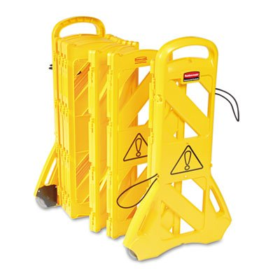 RCP9S11YEL - Portable Mobile Safety Barrier, Plastic, 1quot; X 13 Ft X 40quot;, Yellow