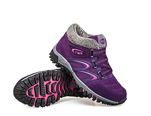 Gaslinyuan Frauen Plateaustiefel Fell gefütterte Hook Loop Comfort Schuhe Schuhe Schuhe (Farbe   Lila, Größe   EU 40) 9b103f