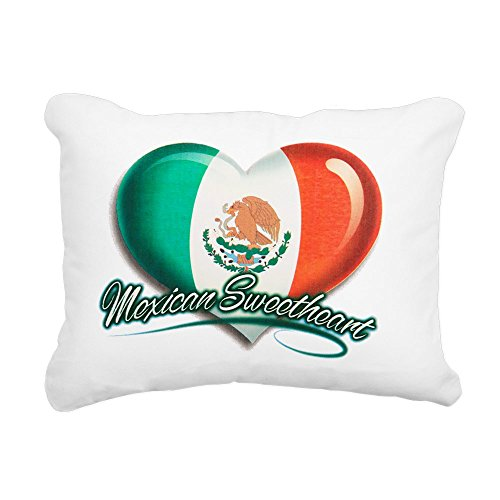 Rectangular Canvas Throw Pillow Natural Mexican Sweetheart Mexico Flag by Royal Lion