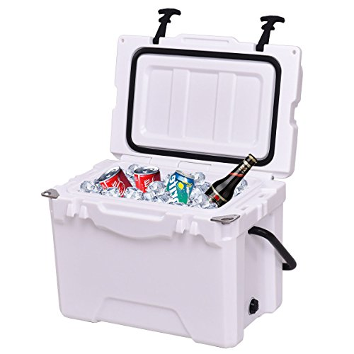 Giantex 20QT Portable Cooler Ice Chest Box Lockable Fishing Camping Travel Drain Plug with Handle, White by Giantex