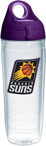 Tervis 1231065 NBA Phoenix Suns Primary Logo Tumbler with Emblem and Purple Lid 24oz Water Bottle, Clear by Tervis