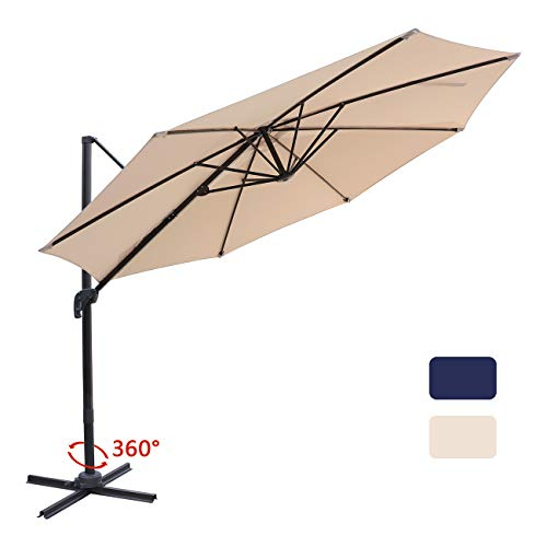Bumblr Patio Offset Cantilever Umbrella 10-Feet Outdoor Patio Hanging Umbrella,360 Degree Rotation with Cross Base Beige