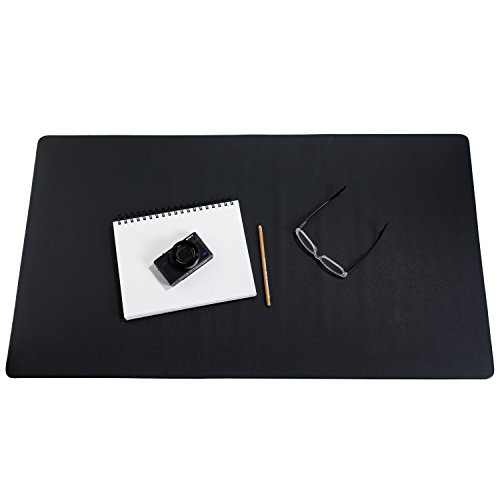 "ZBRANDS // Leather Smooth Desk Mat Pad Blotter Protector, Midnight Black, Extended Non-Slip Rectangular, Laptop Keyboard Mouse Pad (36"" x 20"")"