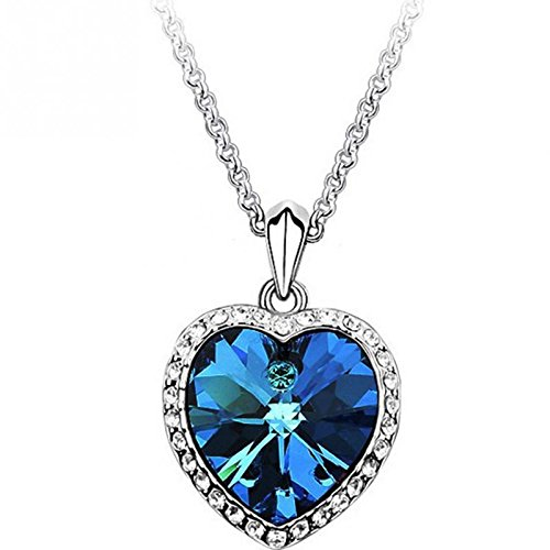 Movie Titanic Heart Of Ocean Pendant Necklace Blue Heart Necklace Crystal Rhinestone Luxury Necklace Women Charming Jewelry