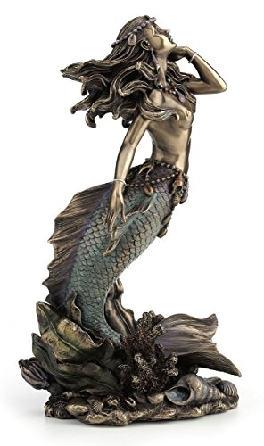 Beautiful Mermaid Rising from Sea Statue Sculpture (Mermaid Small Statues)