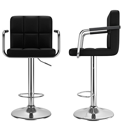 Modern Adjustable Lift Swivel Bar Stool Chair 2 Pack PU Leather Chair with Armrest and Back (Black) ()