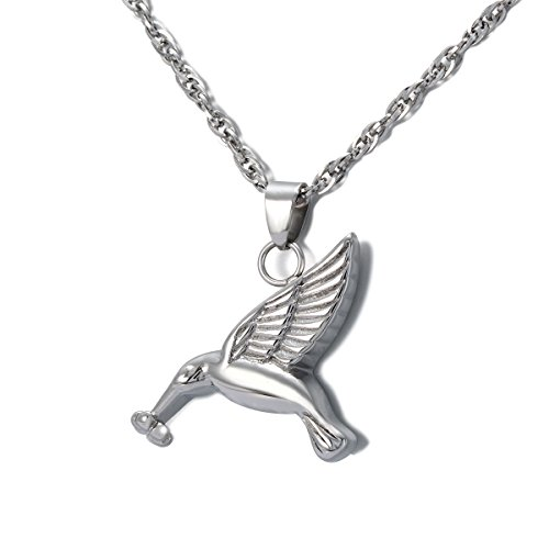 (ZARABE Cremation Jewelry Hummingbird Urn Ashes Necklace Memorial Keepsake Pendant)
