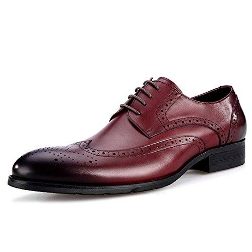 MERRYHE Herren Echtes Leder Brogues Schuhe Vintage Lace Up Derby Abendkleid Party Hochzeit Business Schuh Für Freunde Red