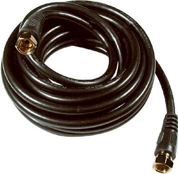 """Negro RG6 Cable Coaxial con conectores """"F"""