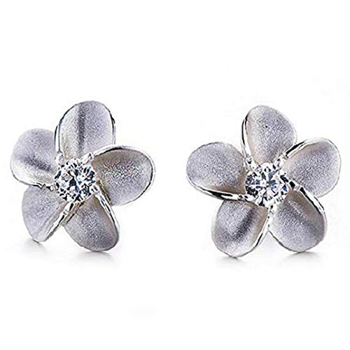 TOPOB Fashion Ladies Earrings, Rhinestones Flower Shape Silver Alloy Glittering Stud Earrings Gift Jewelry (Silver) ()