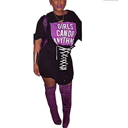 Vestidos Bodycon tamaño Las Las de Color Gadfjuotg Mujeres Vestido de L Manga Sexy de Camiseta Black Corta Cordones Letras con Club impresión xTYwqOwR