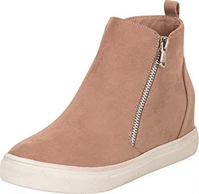 Cambridge Select Women's High Top Side Zip Chunky Platform Low Hidden Wedge Fashion Sneaker, 6 B(M) US, Taupe IMSU