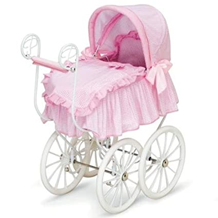 Toddler Girls Baby Doll Canopy Stroller Bed Victorian Pram Buggy Furniture Pretend Play For Babydoll