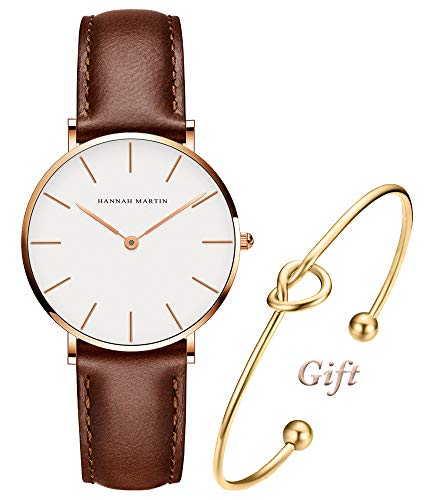 Women's Rose Gold Watch Analog Quartz Hazelnut Brown Leather Band Casual Fashion Classic White Ladies Wrist Watches with Love Knot Bracelet ()