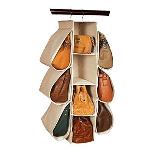 IFANER Homewares Nonwoven Purse Handbag Organizer 10 Pockets Hanging Closet Storage Bag(Beige)