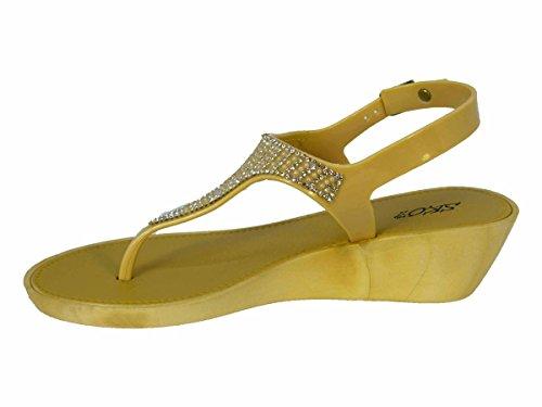 Womens Ladies Wedge Jelly Sandals Low Heel FLIP Flops Diamante Toe Post Size Beige (289-2159) xCGnr6Ws