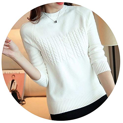 Ccai Autumn Winter Listing Sweater Bottoming Shirt Women's Round Neck Long-Sleeved Knited Sweater Women's Pullover White