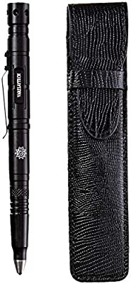 Multi-functional Tactical Pen with PU Leather Pouch, LED Light, Bottle Opener, M6 Hex-Wrench, Flat-Head Screwdriver, Ballpoint Pen, Glass Breaker, Scraper, 3 Pen Refills, 3 Battery Sets, and Gift Box