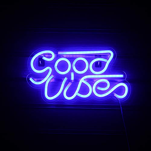 Good Vibes Neon Sign Blue Led Neon Wall Signs Neon Sign Lights with USB Decor for Bedroom Kidroom Bar Apartment Shop…