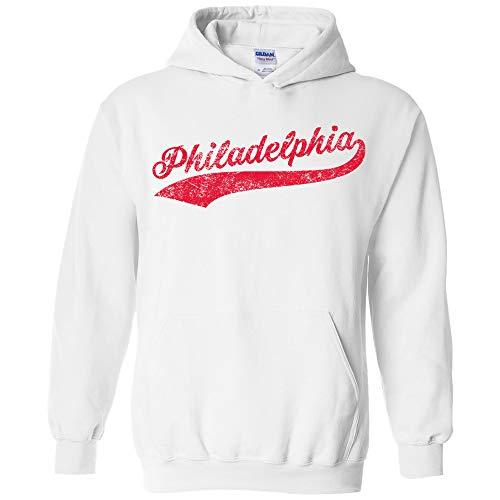 UGP Campus Apparel Philadelphia Baseball Script - Hometown Pride, Pitcher Hoodie - Large - White