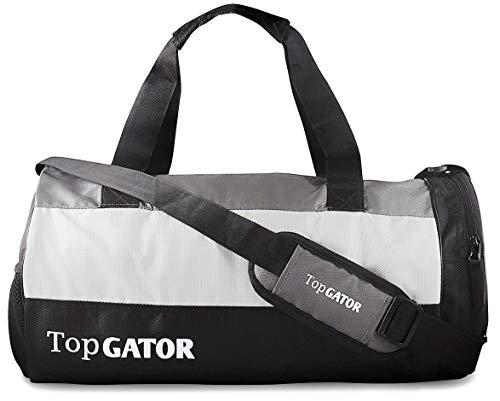 41e KWDWmHL TopGator Gym Bag Sports Duffel with Shoe Compartment 34 L (Grey/Black)