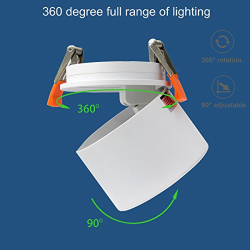 TOPMO Indoor 10W LED Ceiling Fixtures Recessed Ceiling Spotlights/360°Adjustable Ceiling Downlight/10X8CM/Aluminum Spot Light (White 6000K) by TOPMO (Image #2)