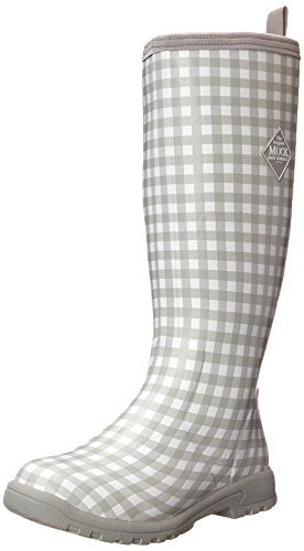 MuckBotas Mujeres Breezy Tall Insulated Rain Bota Gingham Gris