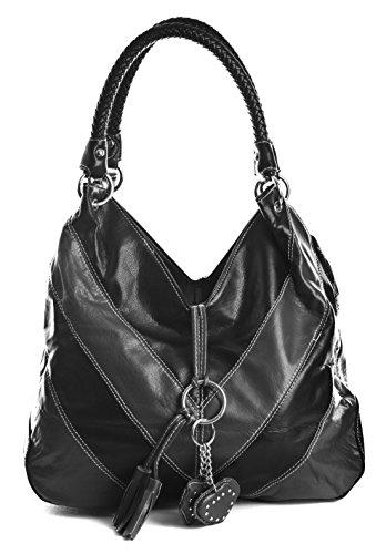 Trendy bolso con gran detalle, bandolera de piel sintética Black (KL114)